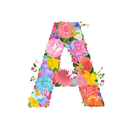 Fashion alphabet from lovely flowers of daffodils, roses, tulips, lily of the valley, crocus, chrysanthemums, hortensia, lilac. Romantic letter A.