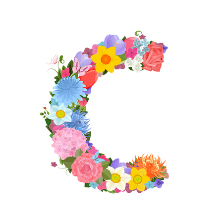 on a white background: Fashion alphabet from lovely flowers of daffodils, roses, tulips, lily of the valley, crocus, chrysanthemums, hortensia, lilac. Romantic letter C