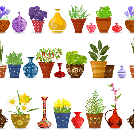 flowerpots: collection isolated seamless borders with herbs planted in pots, modern vases, flowerpots for your design Illustration