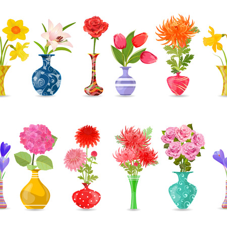collection isolated seamless borders with lovely flowers in modern vases for your design