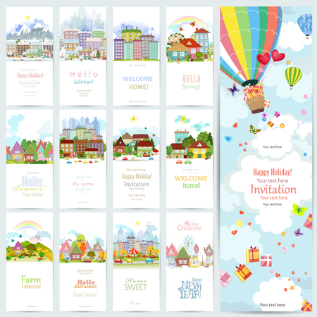 row houses: lovely set banners of cute cityscape. Urban landscape of four seasons. invitation card with hot air balloon over the city with gifts