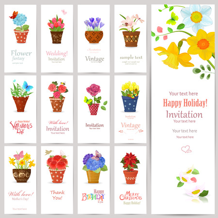 planted: romantic collection of invitation cards with lovely flowers planted art pots for your design Illustration