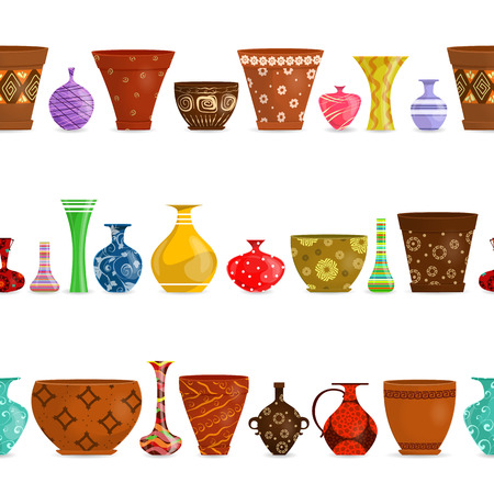 collection isolated seamless borders with ethnic flowerpots and modern glases vases for your design Illustration