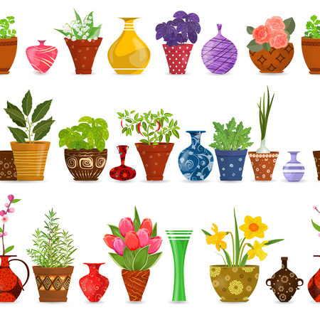 collection isolated seamless borders with herbs planted in pots, lovely vases, flowerpots for your design