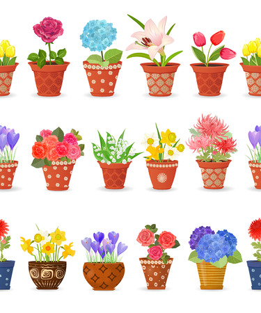 lily flowers collection: romantic collection seamless borders with lovely flowers planted art pots for your design. daffodils, roses, tulips, lily of the valley, crocus, chrysanthemums, hortensia, lily.