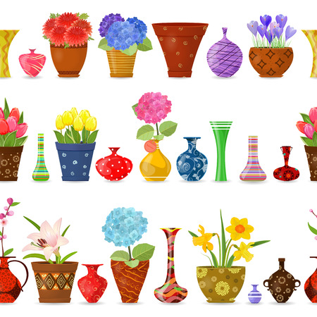 flowerpots: collection isolated seamless borders with flowers planted in art flowerpots and cute vases for your design Illustration