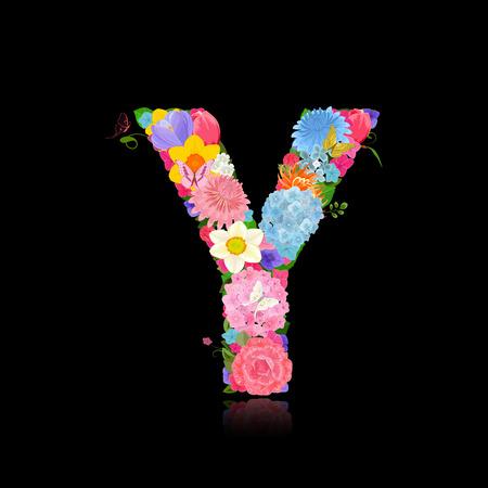 Fancy letter of beautiful flowers on black background Y Illustration