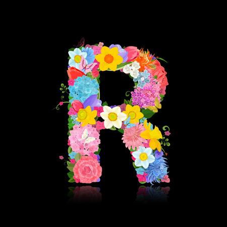 beautiful flowers: Fancy letter of beautiful flowers on black background R