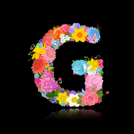 Fancy letter of beautiful flowers on black background G