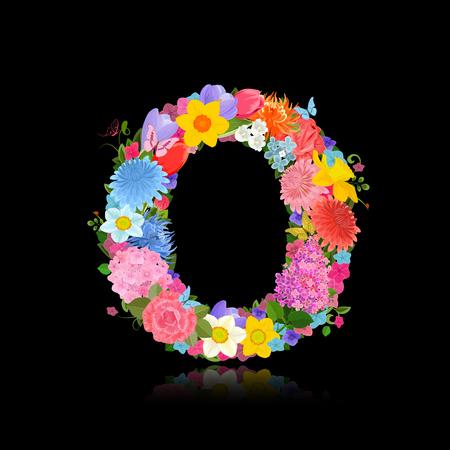 Fancy letter of beautiful flowers on black background O