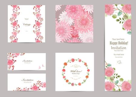 collectie wenskaarten met een chrysant voor uw ontwerp. naadloze textuur met bloemen