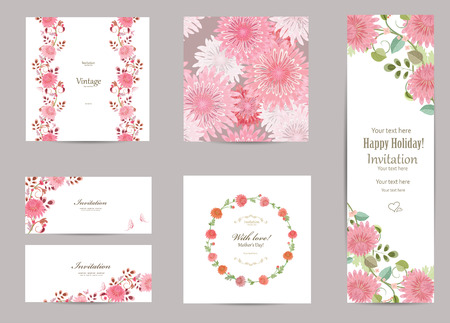 romantic: collection of greeting cards with a chrysanthemum for your design. seamless texture with flowers Illustration