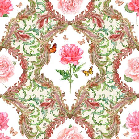 foliate: fashion seamless texture with fantasy flora and rose in frame. watercolor painting