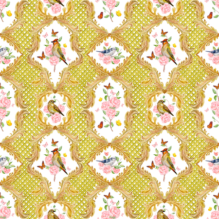 lovely seamless texture with golden floral scroll filigree and roses, birds. watercolor painting Stock Photo
