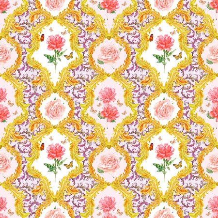 foliate: vintage seamless texture with golden floral scroll filigree and roses in frames. watercolor painting