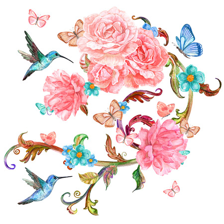 victorian frame: invitation card with lovely roses and birds. watercolor painting Stock Photo