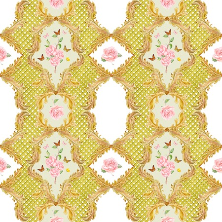 composition art: rich seamless texture with gold floral scroll filigree. template frame for your design. watercolor painting Stock Photo