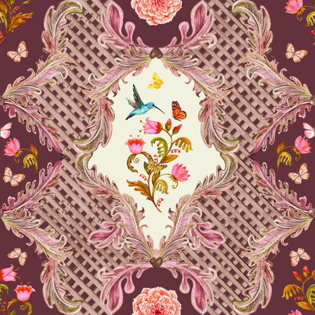 composition art: vintage seamless texture with fantasy flora and flying hummingbird. watercolor painting