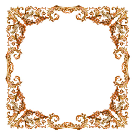 floral scroll: vintage wooden frame with baroque floral scroll filigree. watercolor painting. Stock Photo