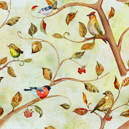 tree texture: retro seamless texture with birds on tree branches. watercolor painting Stock Photo