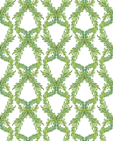 green carpet: seamless texture with old leaf pattern. watercolor painting