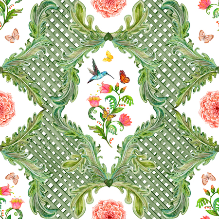 composition art: vintage seamless texture with fantasy flora and bird. watercolor painting