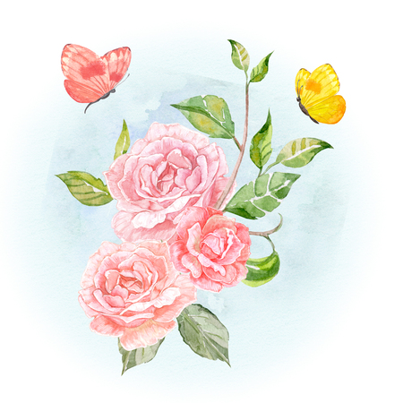 invitation card with floral fantasy of roses and lovely flying butterflies. watercolor painting Archivio Fotografico