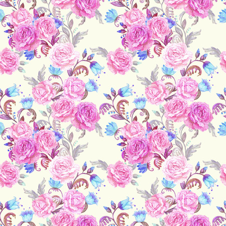 texture fantasy: vintage seamless texture with fantasy floral and roses. watercolor painting