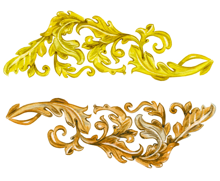 collection vintage gold and wooden baroque floral scroll filigree. watercolor painting.