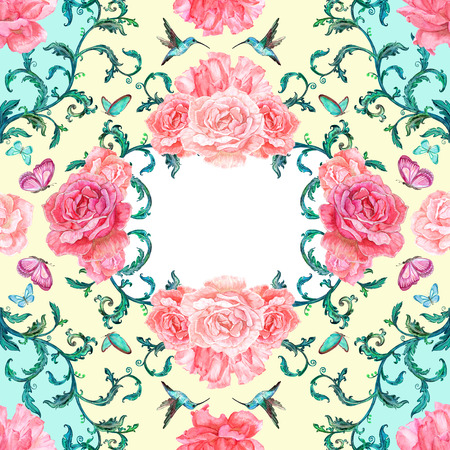 watercolor texture: delicate seamless texture with roses and hummingbird. watercolor painting.