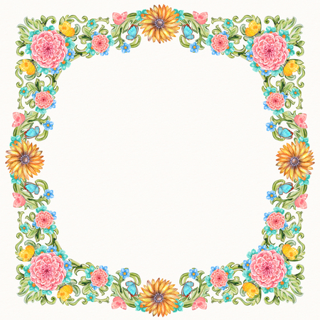 filigree frame: vintage frame of green baroque floral scroll filigree with flowers. watercolor painting.