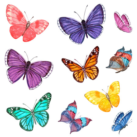 collection of flying butterflies. watercolor painting Foto de archivo