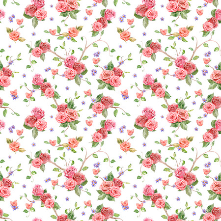 flower pattern: cute seamless texture with roses and butterflies. watercolor painting