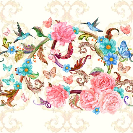 floral border: horizontal floral seamless border for your design. watercolor painting
