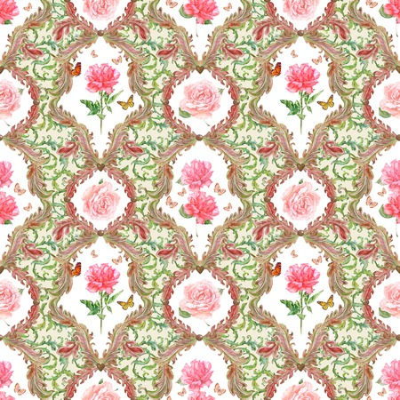 composition art: fashion seamless texture with fantasy flora. watercolor painting