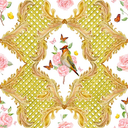 floral scroll: rich seamless texture with gold floral scroll filigree. watercolor painting