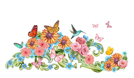decorative element with flower and butterflies for your design. watercolor painting Stock Photo