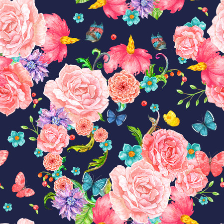 fashion seamless texture with exotic floral with flying butterflies. watercolor painting Stock Photo