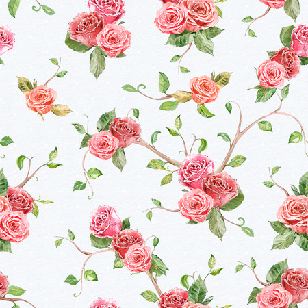 vintage rose: seamless texture with roses and floral twigs. watercolor painting