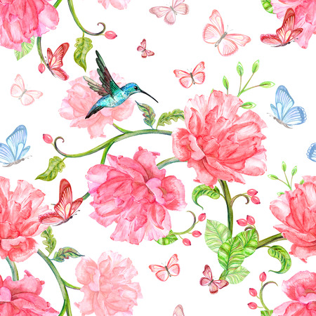 soulful: seamless texture with fancy flora and flying hummingbird. watercolor painting Stock Photo