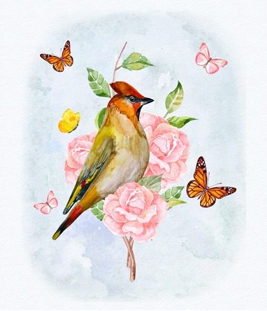 romantic card with floral fantasy. bird on rose bouquet and lovely flying butterflies. watercolor painting Stock Photo