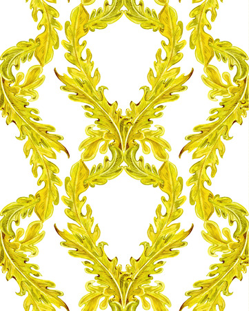 foliate: rich seamless texture with gold foliate pattern. watercolor painting Stock Photo