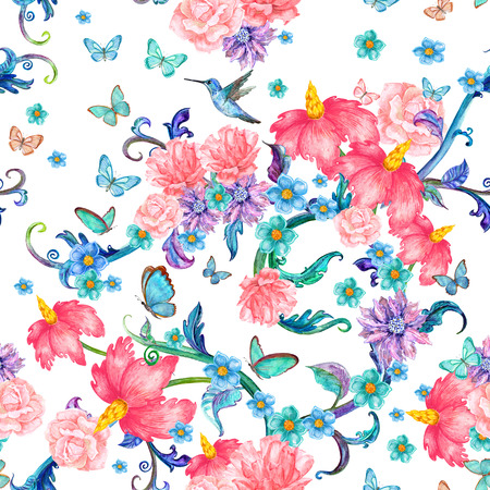 oriental pattern: seamless texture with fantasy floral and butterflies. watercolor painting