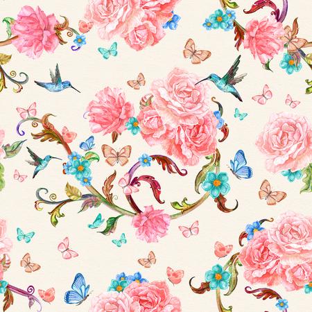 textura transparente con preciosas rosas y aves. pintura de acuarela