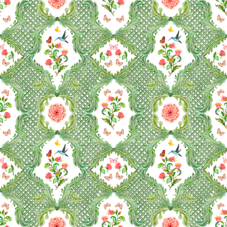 composition art: old seamless texture with fancy floral and bird. watercolor painting Stock Photo