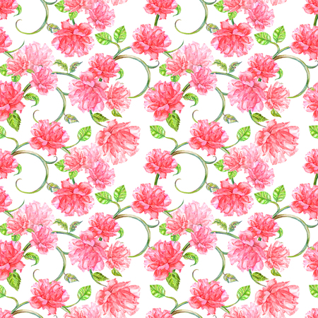 watercolor texture: romantic seamless texture with fancy floral. watercolor painting