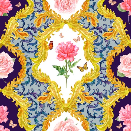 composition art: vintage seamless texture with golden floral scroll filigree and rose, butterflies in frame. watercolor painting Stock Photo