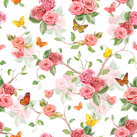 rose garden: fashion seamless texture with roses and flying butterflies. watercolor painting