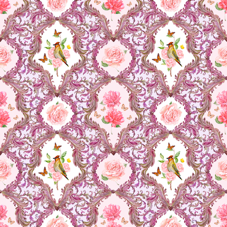 composition art: rich seamless texture with elegant floral pattern and birds. watercolor painting Stock Photo