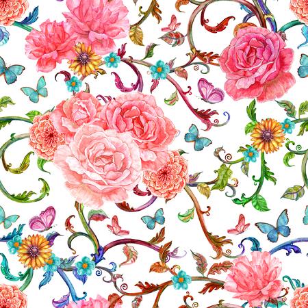 motif floral: la mode texture transparente avec motif floral coloré de l'aquarelle